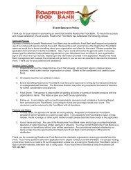 Information For Prospective Event Sponsors - Roadrunner Food Bank