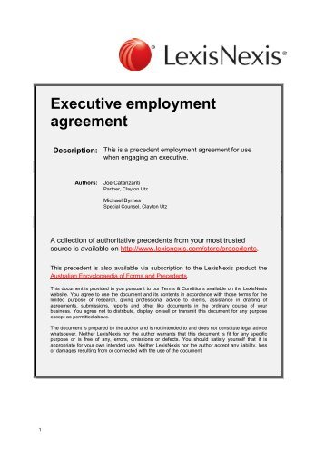 Executive Employment Agreement   LexisNexis
