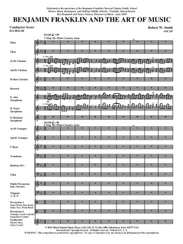 BENJAMIN FRANKLIN AND THE ART OF MUSIC - Music Ruh