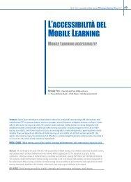 L'accessibilità del Mobile Learning - TD Tecnologie Didattiche - Cnr