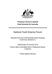 National Youth Science Forum - Chief Scientist for Australia