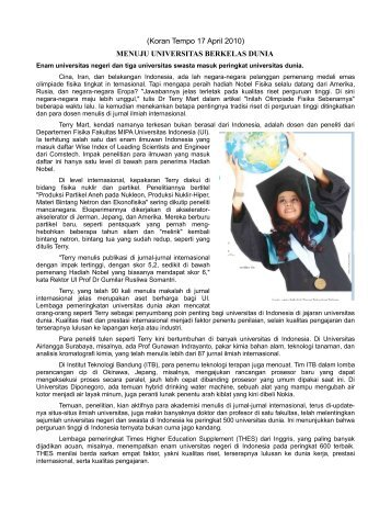 MENUJU UNIVERSITAS BERKELAS DUNIA - Universitas Indonesia