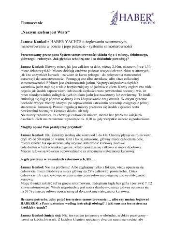 Janusz Konkol z HABER YACHTS o żeglowaniu sztormowym ...