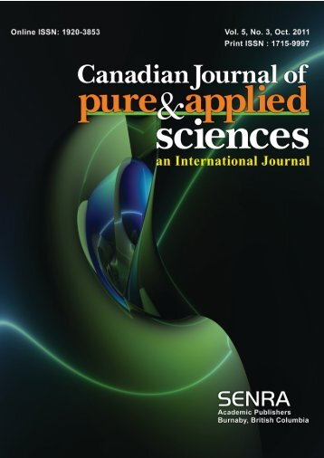 Oct-11 - Canadian Journal of Pure and Applied Sciences