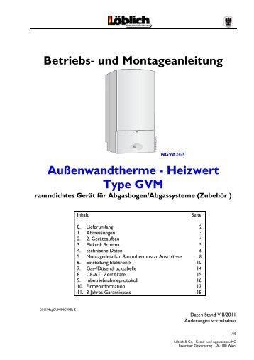 und Montageanleitung Außenwandtherme - Heizwert Type ... - Löblich