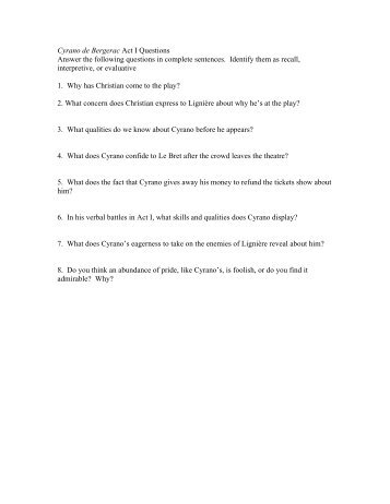 contents introduction lif cyrano de bergerac act i questions answer the following questions
