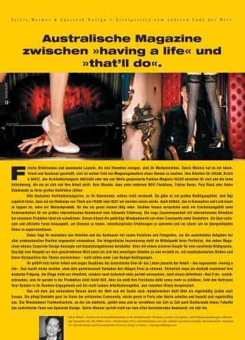 Australische Magazine zwischen »having a life ... - Spacelab Design