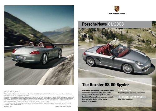 Porschenews 01/2008 The Boxster RS 60 Spyder