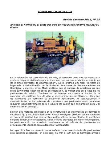 COSTES DEL CICLO DE VIDA Revista Cemento Año 6, Nº ... - ICPA