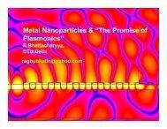 Metal Nano Particles and the Promise of Plasmanics - IIM