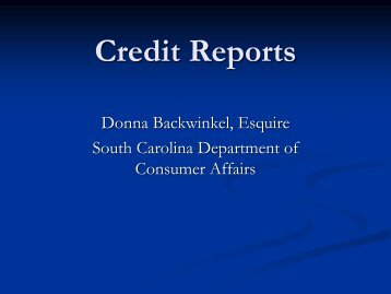 Demystifying Credit Reports - SC Consumer Affairs