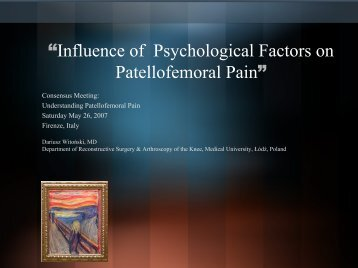 """Influence of Psychological Factors on Patellofemoral Pain"""