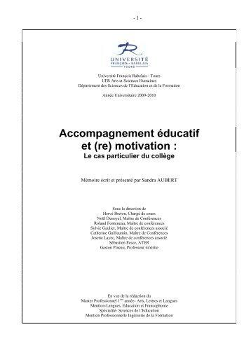 Accompagnement éducatif et (re) motivation : - Université François ...