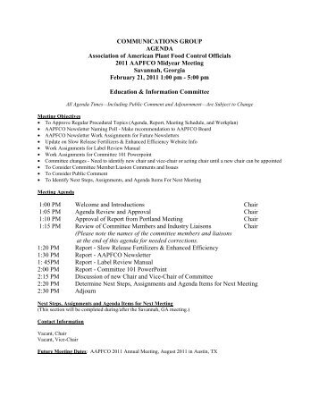 COMMUNICATIONS GROUP AGENDA Association of ... - AAPFCO