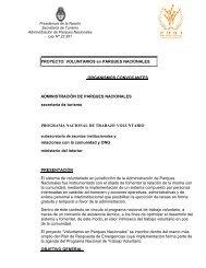 PROYECTO: VOLUNTARIOS en PARQUES NACIONALES ...