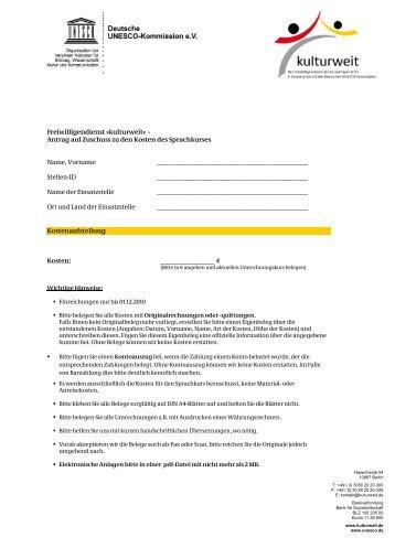 Freiwilligendienst »kulturweit« - Antrag auf Zuschuss zu den Kosten ...