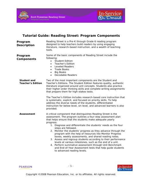 Reading Street Program Components My Pearson Training