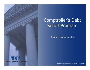 Comptroller's Debt Set-Off Program - Virginia Department of Accounts