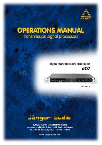 D07 manual EN 080806 01.pdf - Jünger Audio