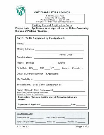 Parking Placard Application Form - Town of Fort Smith