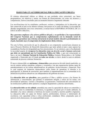 BASES PARA UN ACUERDO SOCIAL POR LA EDUCACIÓN ...
