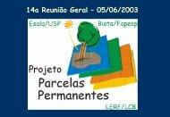II Simpósio Interno do Projeto Parcelas Permanentes - LERF - USP