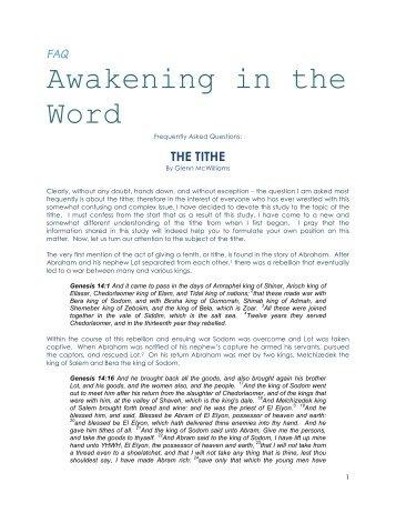 The Tithe - Unleavened Bread