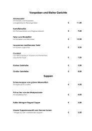 Vorspeisen und Kleine Gerichte Suppen - Hotel am Schlosspark