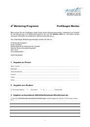 A Mentoring-Programm Profilbogen Mentee - Medizinische Fakultät ...