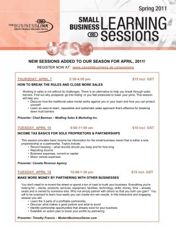 new sessions added to our season for april, 2011! - The Business Link