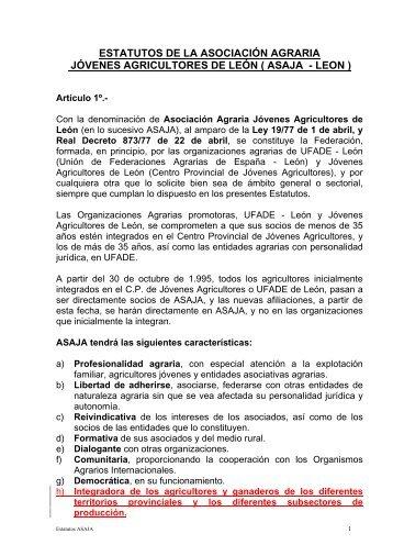 estatutos de la asociación agraria jóvenes agricultores de león