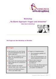 """Workshop """" No Blame Approach: Fragen und Antworten"""""""