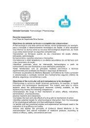 Unidade Curricular: Farmacologia / Pharmacology Docente ...