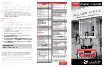 Application for Admission - Tri-County Technical College