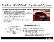 Praktikum bei SEAT (Bereich Organisation & Systeme) - WiWi
