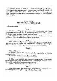 Statut PSS - Plivački savez Srbije