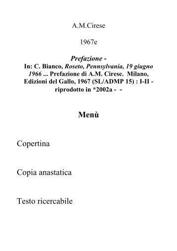 Menù Copertina Copia anastatica Testo ricercabile - AM Cirese