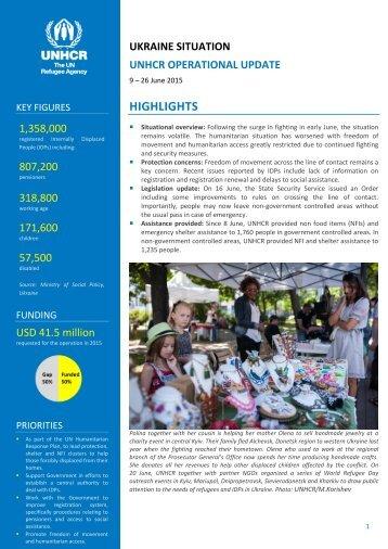 UNHCR UKRAINE Operational update 26 June 2015