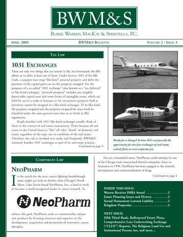 Bulletin Vol 2 Issue 3 April 03 - Burke, Warren, MacKay & Serritella, PC