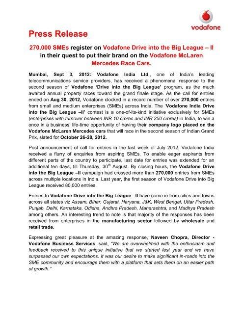 Draft PRESS RELEASE - Vodafone