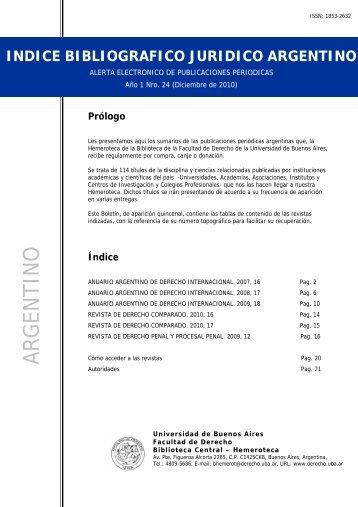 BIBLIOGRAFICO JURIDICO ARGENTINO - Facultad de Derecho ...