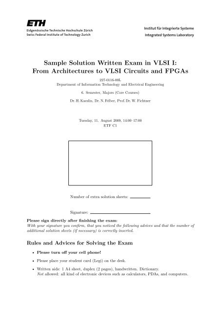 Sample Solution Written Exam in VLSI I - Integrated Systems