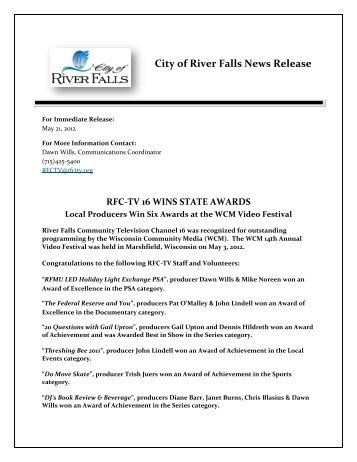 rfc-tv 16 wins state awards - City of River Falls