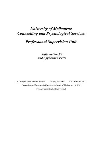 University of Melbourne Counselling and Psychological Services ...