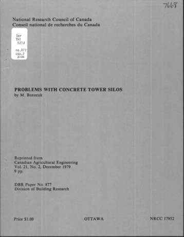 Problems with concrete tower silos - National Research Council ...