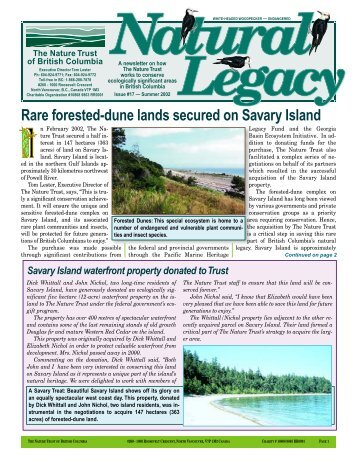 Spring Newsletter 2003 - Nature Trust of British Columbia