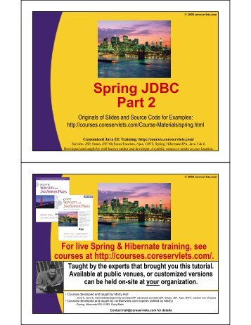 Spring JDBC Part 2 - Custom Training Courses - Coreservlets.com