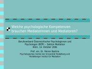 I. Umgehen mit den Beziehungen in der Mediation - Peter Adler