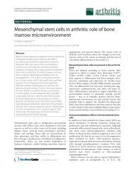 Mesenchymal stem cells in arthritis: role of bone marrow ...