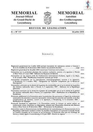 A - N° 117 / 26 juillet 2010 - Administration des contributions directes